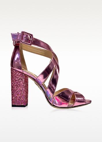 Charlotte Olympia Apollo Rose Quartz Metallic Leather And Glitter Sandal In Pink