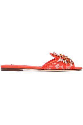 Dolce & Gabbana Woman Crystal-Embellished Corded Lace Slides Papaya
