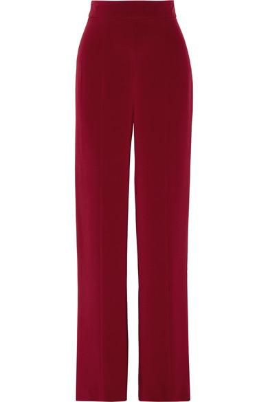 Cushnie Et Ochs Woman Silk Crepe De Chine Wide-leg Pants Claret In Ruby