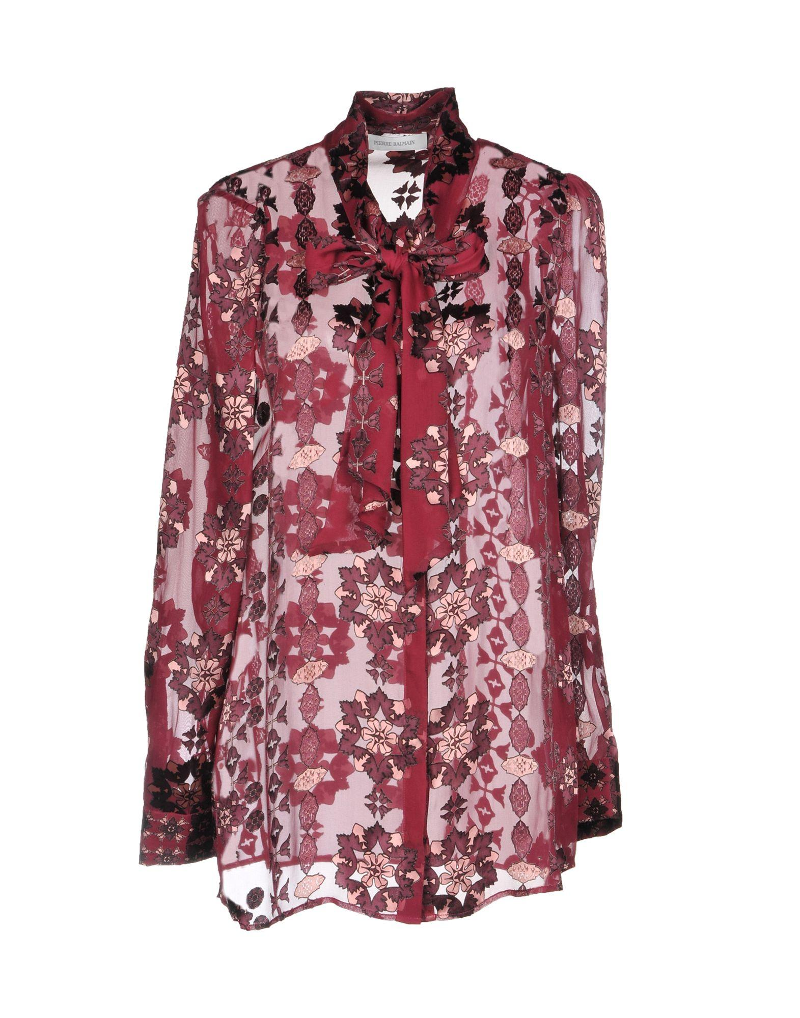 Pierre Balmain Floral Shirts & Blouses In Maroon