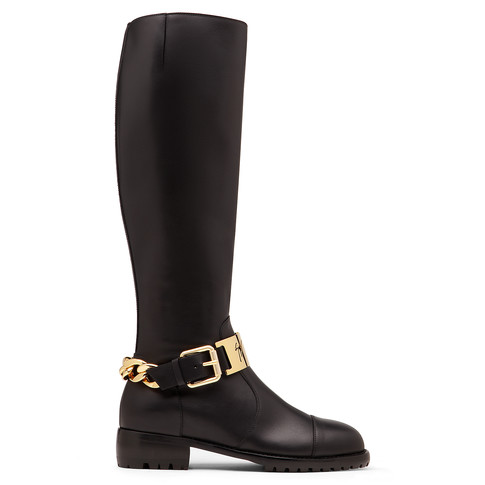 Giuseppe Zanotti - Black Leather Knee-High Boot With Gold Bar Brooke