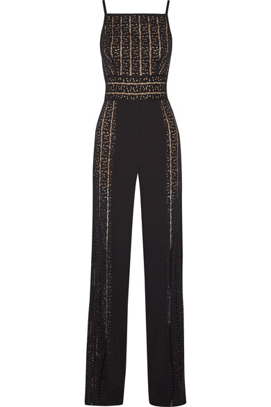 Elie Saab Woman Paneled Cady And Open-knit Jumpsuit Black