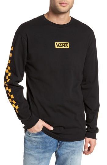 4413d5191b Vans Classic Checkmate Long Sleeve T-Shirt In Black/ Yellow | ModeSens