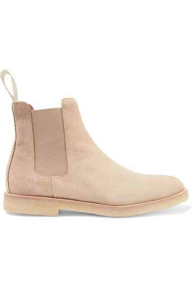 Common Projects Suede Chelsea Ankle Boots In Beige