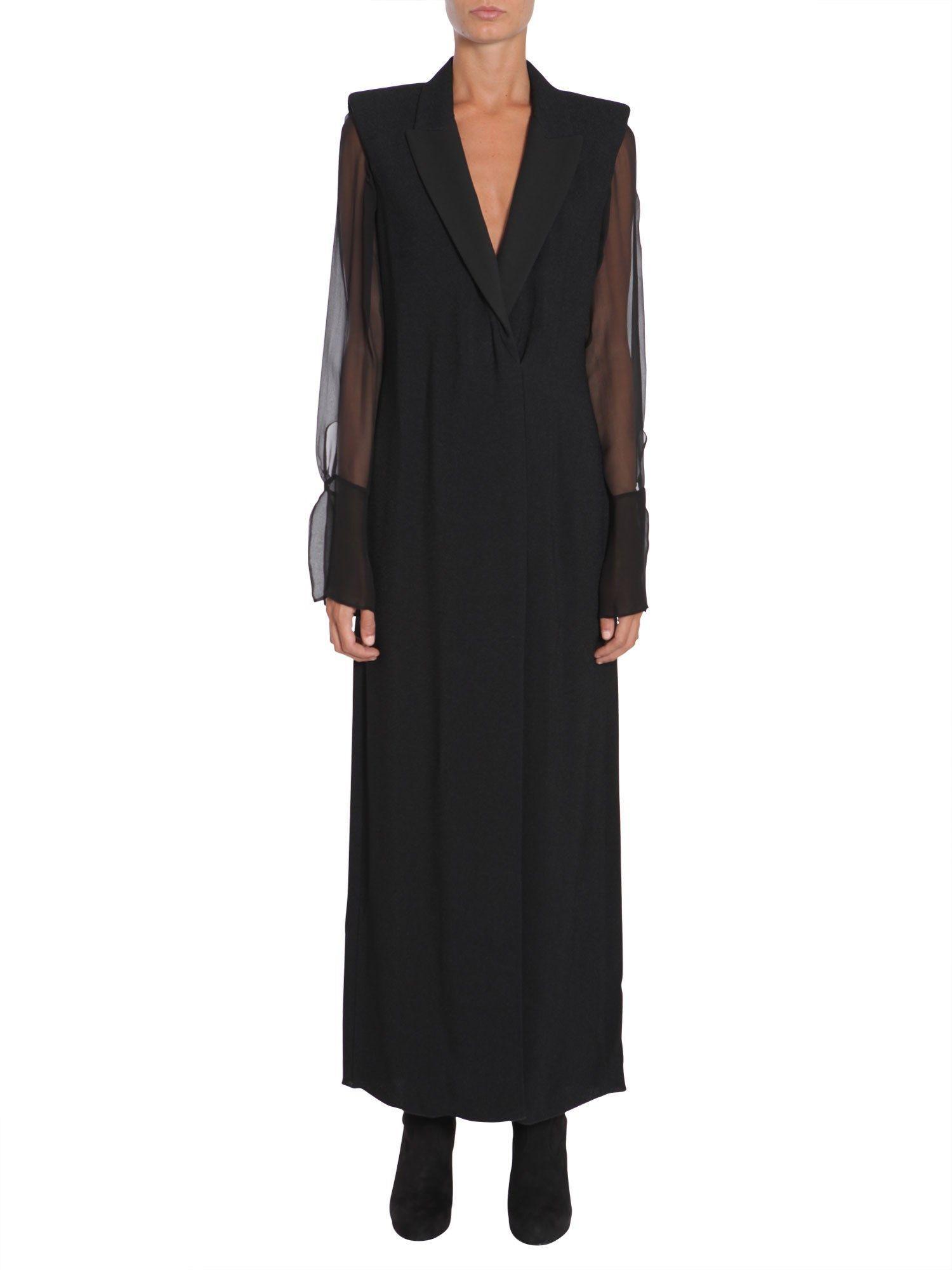 Lanvin Long Wool CrÊpe Dress In Nero