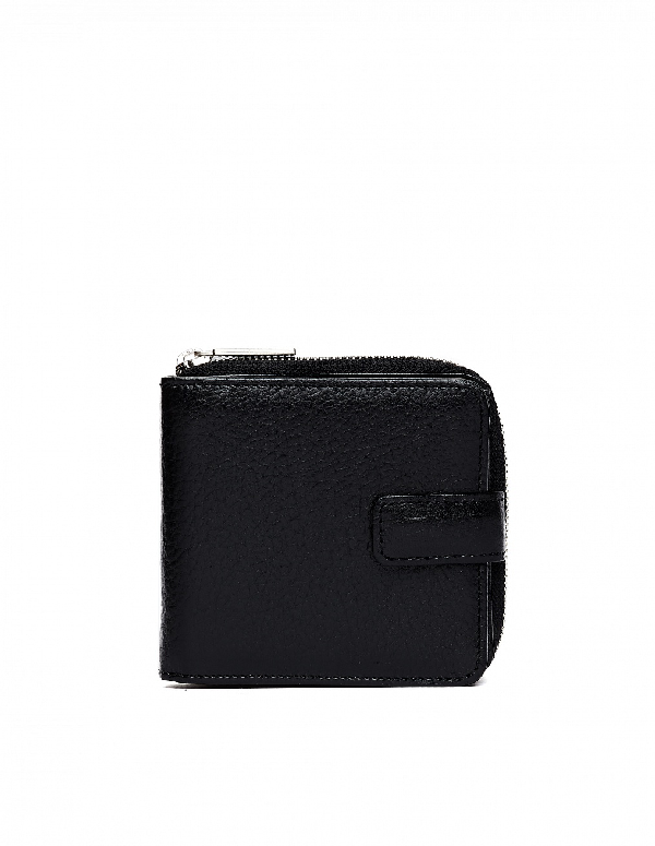 Yohji Yamamoto Black Leather Wallet In White