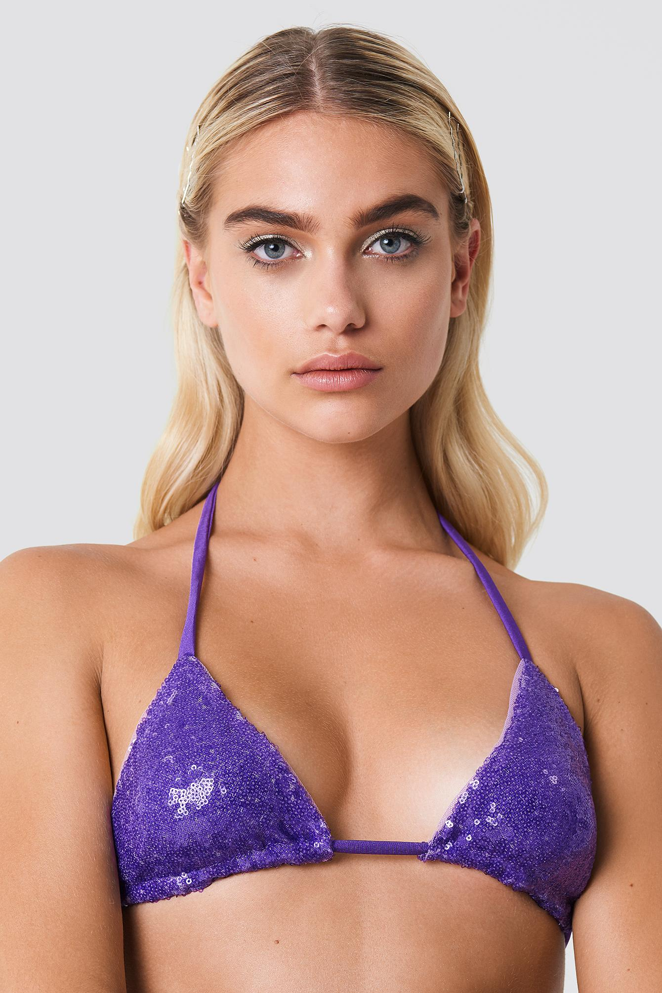 e7b296db32783 Galore X Na-Kd Sequin Bikini Top - Purple