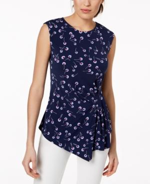 Vince Camuto Pleated Asymmetrical Top In High Tide