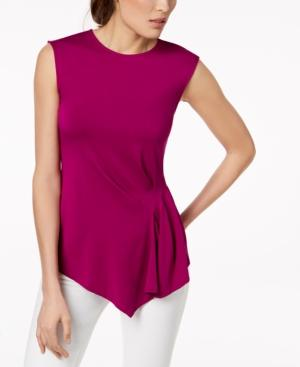 Vince Camuto Pleated Asymmetrical Top In Fuchsia Fury