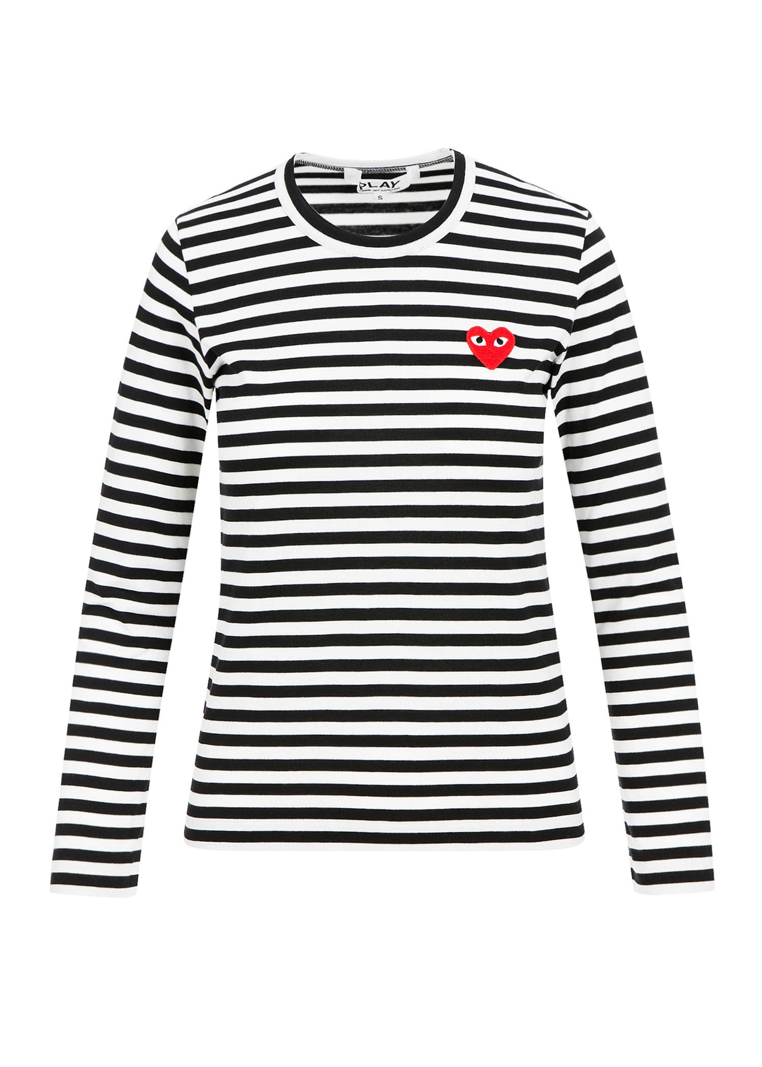 a94f57dd9d Comme Des GarÇOns Play Red Heart Patch Striped Ls T-Shirt In Black/White