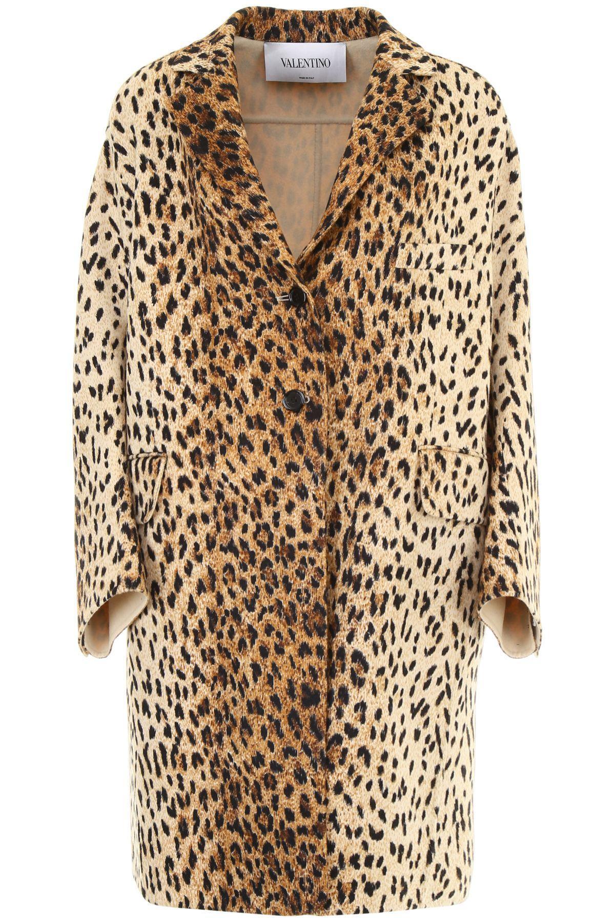 ef77bd0d427 Valentino Leopard Print Coat In Wild Leopardbeige | ModeSens