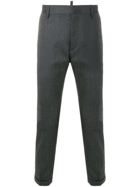 Dsquared2 灰色羊毛混纺裤 In Grey