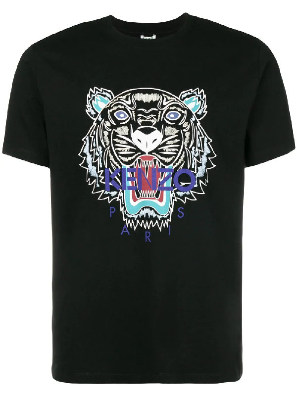 Kenzo Tiger Printed Cotton Jersey T-Shirt In Black