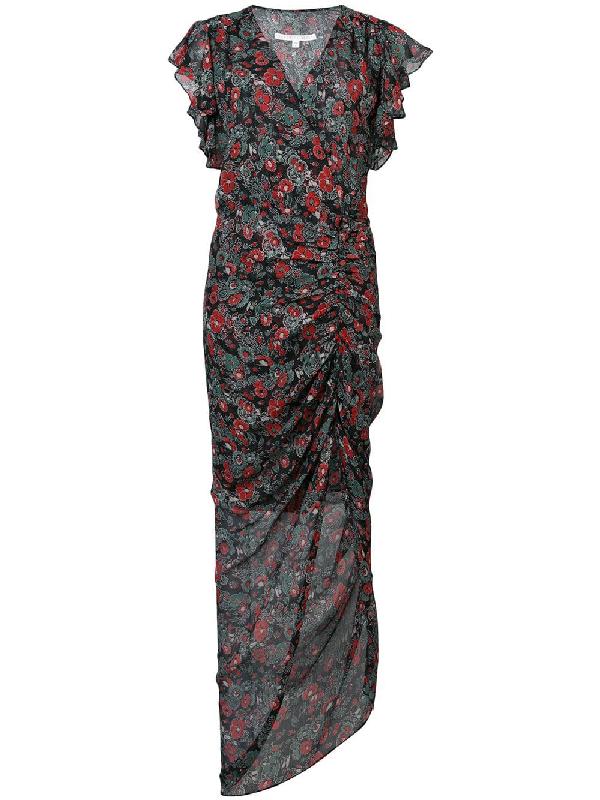 fa16781d6c42b0 Veronica Beard Cecile Ruffled Floral-Print Silk-Chiffon Maxi Dress In Black