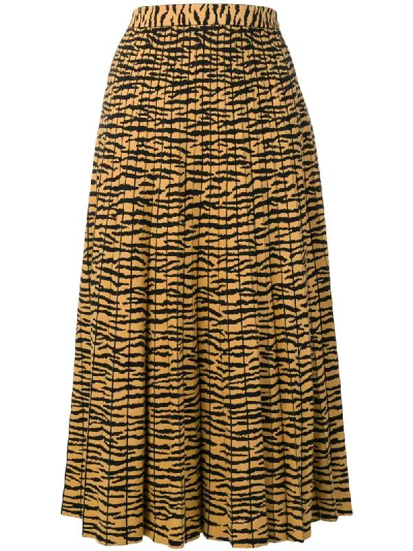 8a48b27172 Proenza Schouler Pleated Animal-Print Jacquard Midi Skirt In Yellow ...