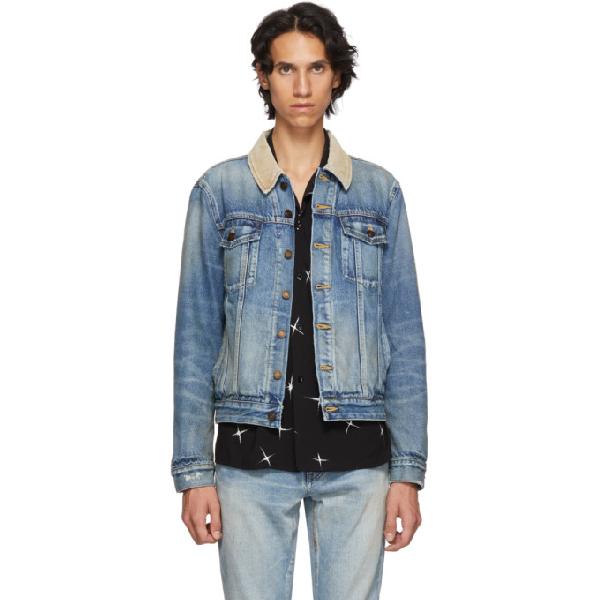 b37b929e16 Saint Laurent Corduroy Collar Denim Jacket Rusty Light Blue In 4315 Blue