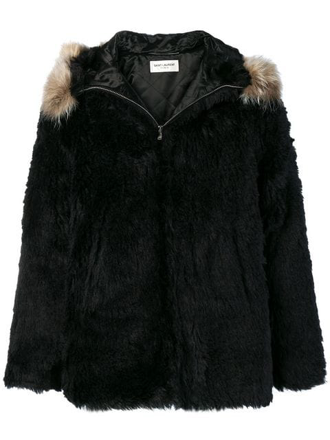dbfacd41bd9 Saint Laurent Black Faux-Fur Jacket | ModeSens
