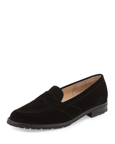 Manolo Blahnik Consulta Buck Suede Loafer, Black