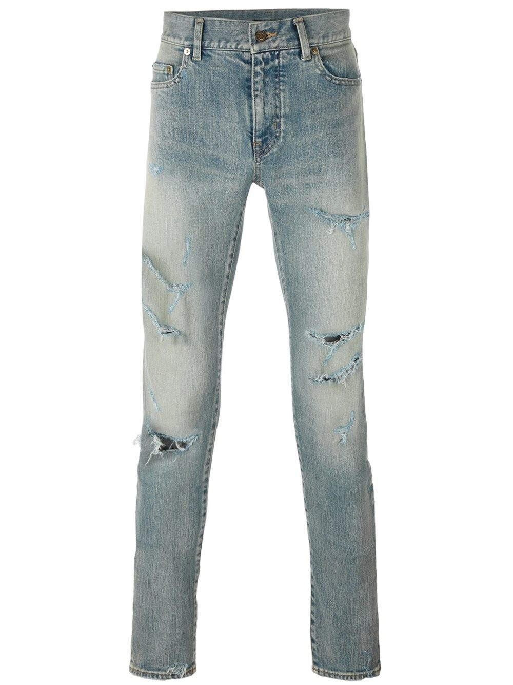 Saint Laurent Distressed Skinny Jeans In Blue