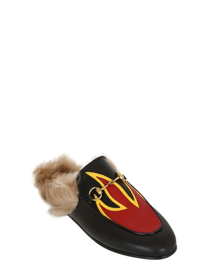 d09c733b31c Gucci Princetown Leather And Lamb Fur Flame Slippers In Black