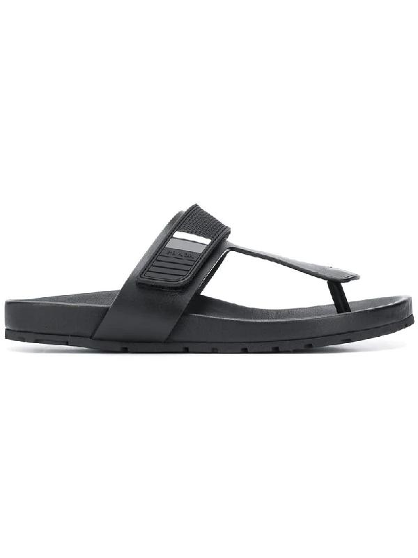 66208c886 Prada Single Strap Sandals In Black