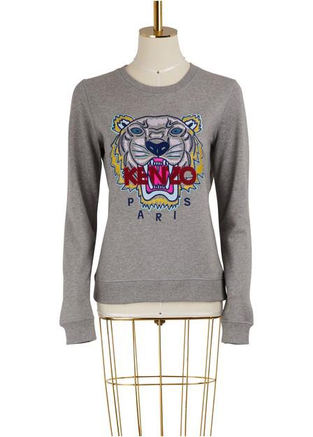 Kenzo Embroidered Cotton-Jersey Sweatshirt In Grey