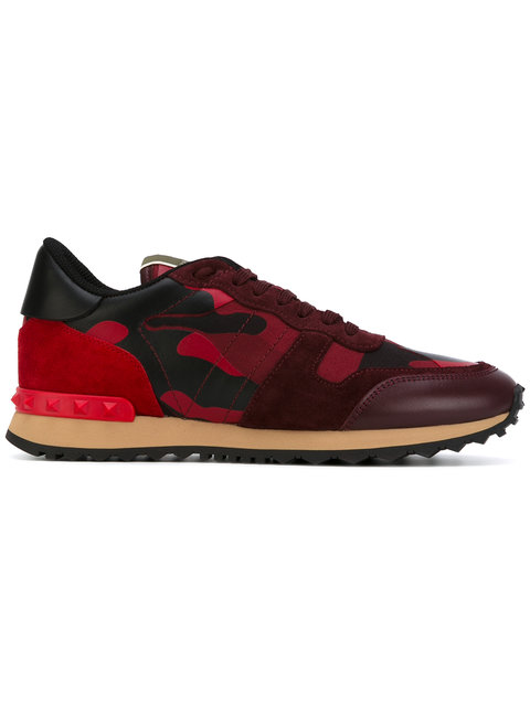 Valentino Garavani Rockrunner Camouflage Leather Sneakers In Red