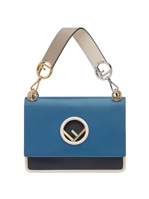 3dd2e33e208 Fendi Kan I F Logo Leather & Velvet Shoulder Bag In Blue | ModeSens