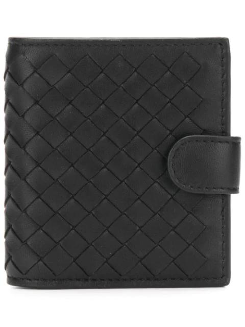 Bottega Veneta Intrecciato Bi Fold Leather Wallet In Black