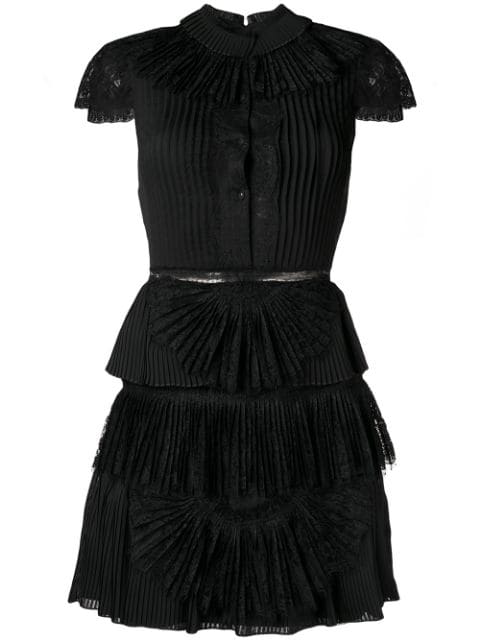 Alice And Olivia Rosetta High-Neck Cap-Sleeve Tiered Lace Cocktail Dress In Black