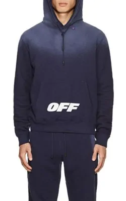 Off-White Wing Off Logo-Print Fleece-Back Cotton-Jersey Hoodie In Navy