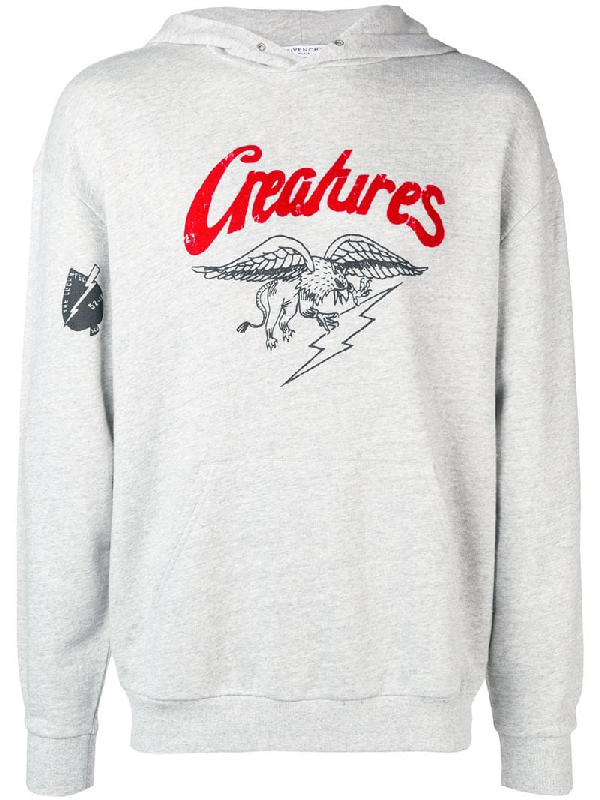 5fed1f7b Givenchy Men's Creatures Graphic Cotton Hoodie Sweatshirt, Gray ...