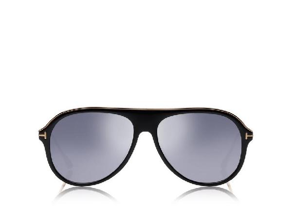 f399c69862f26 Tom Ford Nicholai-02 57Mm Sunglasses - Shiny Black   Smoke Mirror ...