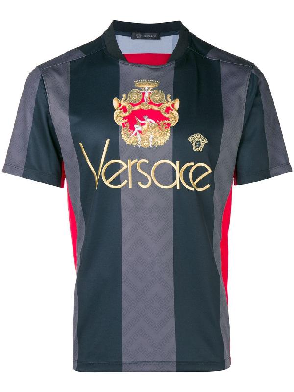 72577d32 Versace Logo-Embroidered Jersey T-Shirt In A008 Black   ModeSens