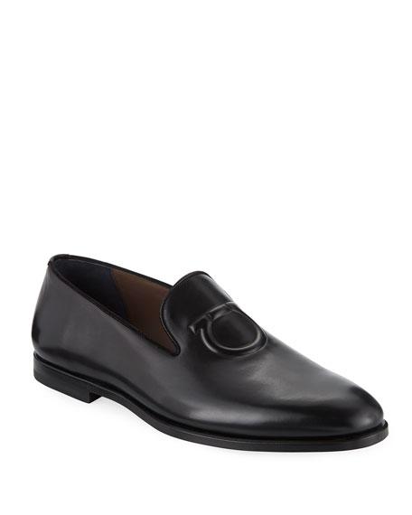 Salvatore Ferragamo Men's Bruxelles Gancini-Embossed Leather Loafer In Black