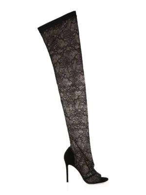 Gianvito Rossi Lace Stretch Peep Toe Knee-High Boots In Black