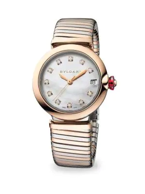 Bvlgari Lvcea Stainless Steel & Rose Gold Diamond Bracelet Watch In Silver-Rose Gold