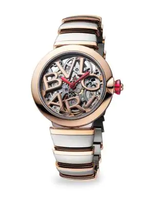 Bvlgari Lvcea Stainless Steel & 18K Rose Gold Bracelet Skeleton Watch In Silver-Rose Gold