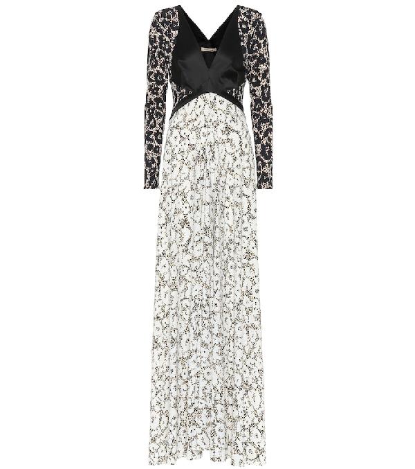 Roberto Cavalli Retro Leopard Long Sleeve Knit Dress In Black