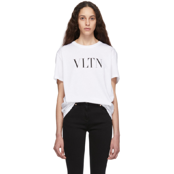 Valentino Short-Sleeve Vltn Logo Cotton Jersey T-Shirt In A01 Wh/Bl