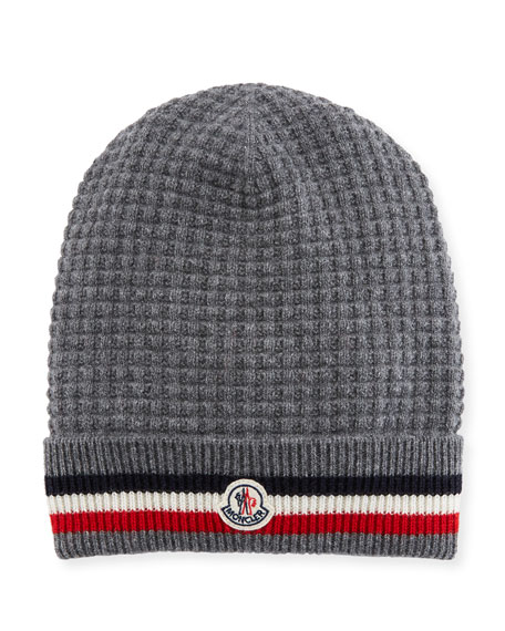 d4c86beb868 Moncler Striped Wool And Cashmere-Blend Beanie In Grey
