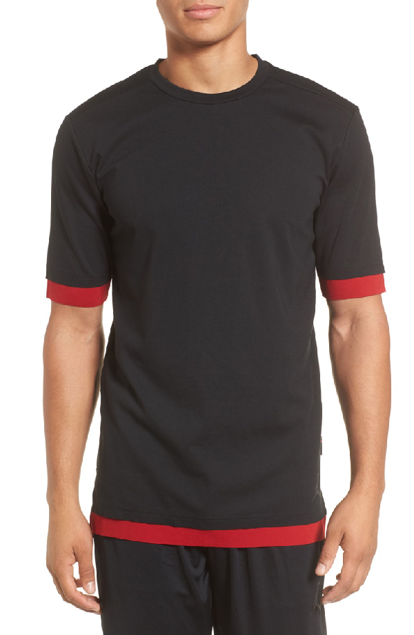 cdca546e0ae360 Nike Sportswear Tech T-Shirt In Black  Gym Red  Anthracite