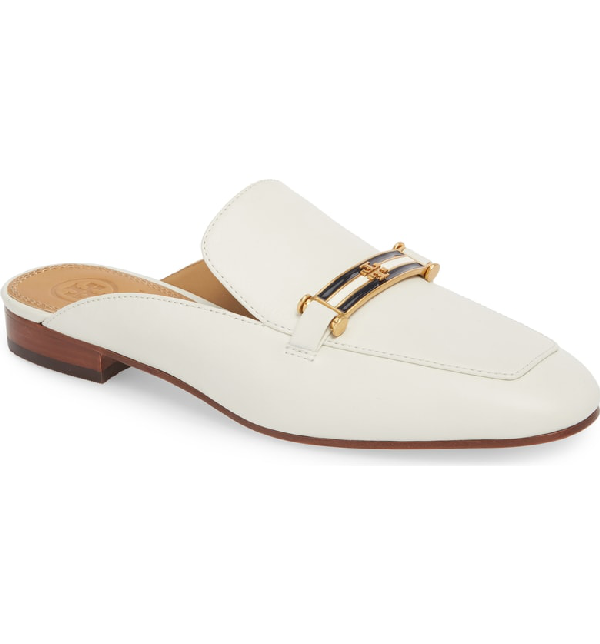 2488d0fe7ba Tory Burch Women s Amelia Leather Apron Toe Loafer Mules In Perfect Ivory