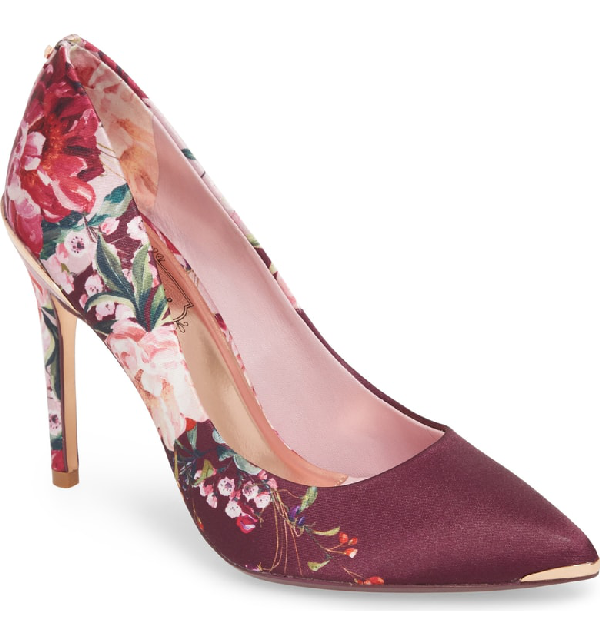 de0dce4fcff17 Ted Baker Women s Kawaap Floral Print Satin Pointed Toe Pumps In Serenity  Fabric