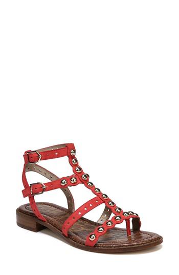 da1b276d2 Sam Edelman Elisa Studded Gladiator Sandal In Coral Punch Suede ...