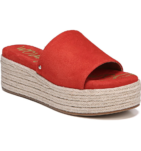e2d34a887c63ce Sam Edelman Weslee Platform Slide Sandal In Candy Red Suede