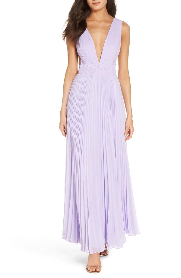 Fame And Partners Fame & Partners The Peyton Pleated Gown In Lilac