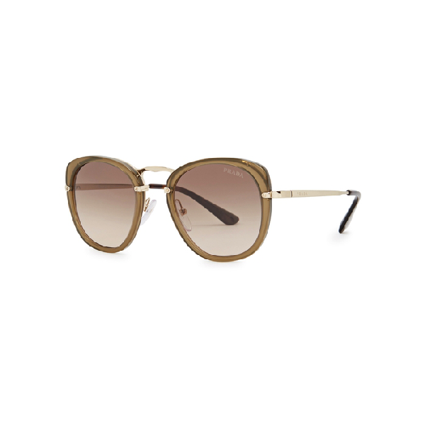 a02233b613 Prada Olive Oval-Frame Sunglasses In Brown