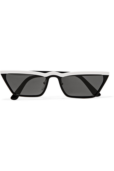 Prada Slim Acetate Cat-Eye Sunglasses, White/Black/Gray