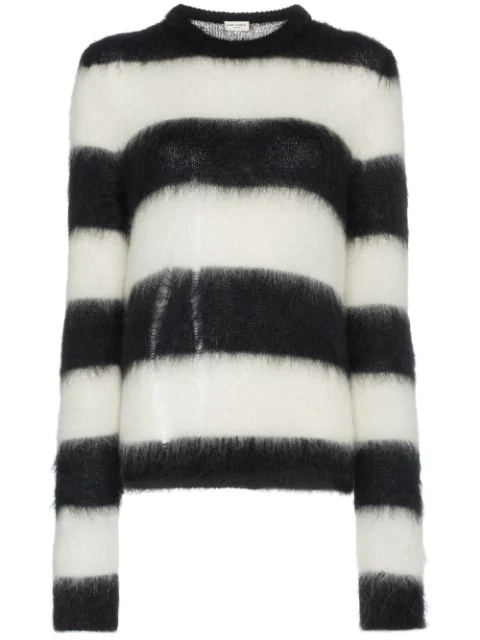Saint Laurent Striped Sweater In Black And White Mohair In Black,Stripes,White